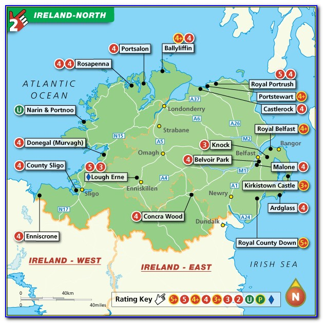 Map Of Golf Courses In Northern Ireland