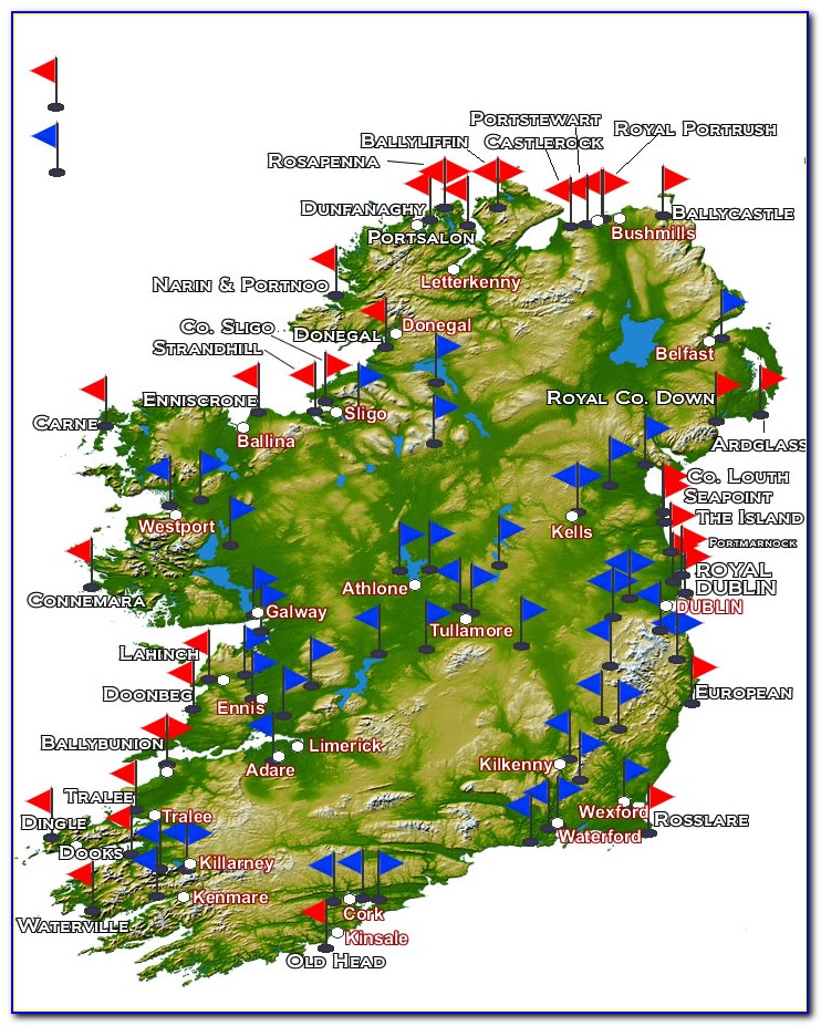 Map Of Golf Courses In Southwest Ireland