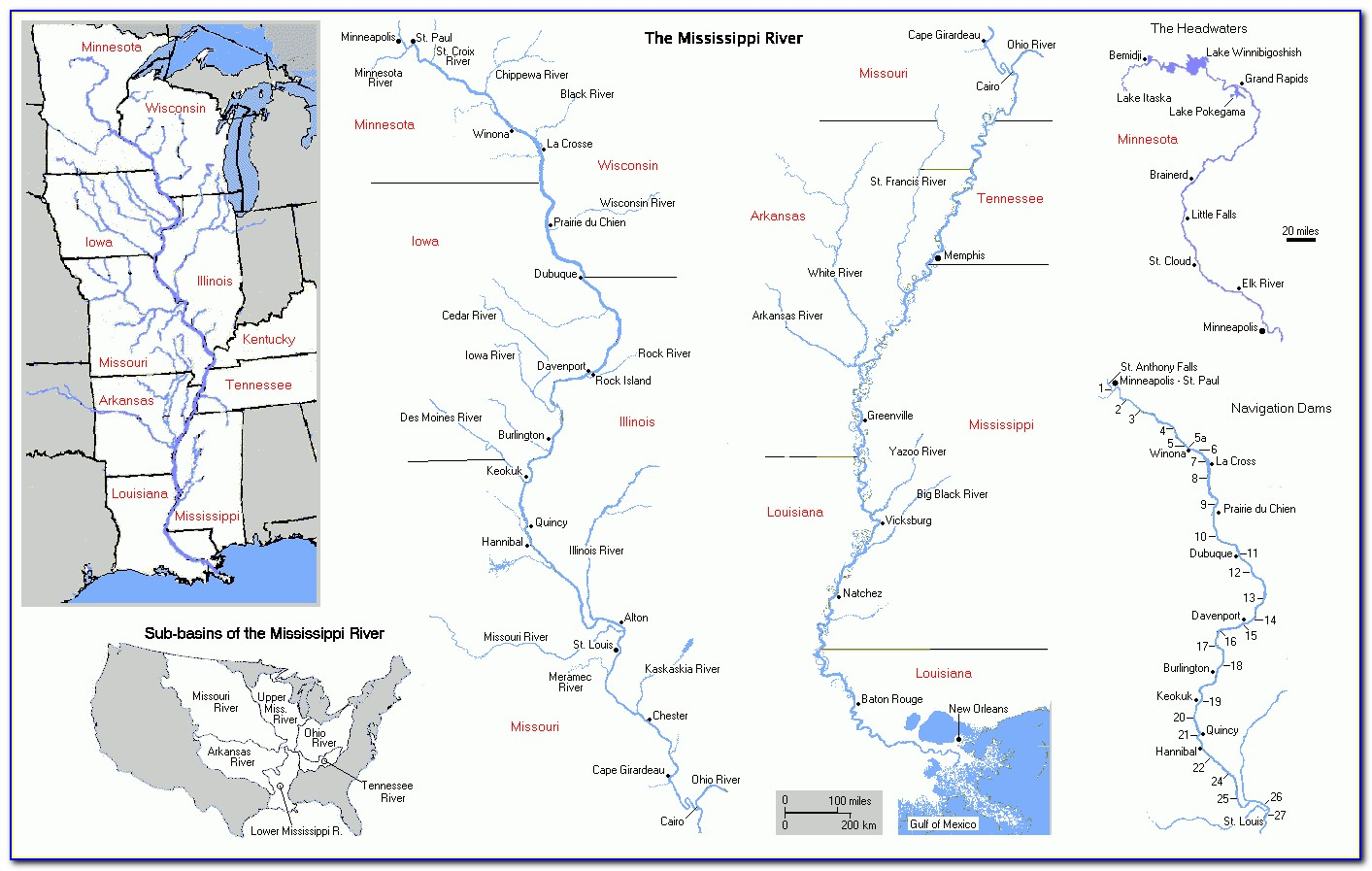Map Of The Mississippi River In Louisiana
