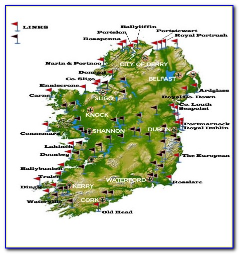 Map Of Top 100 Golf Courses In Ireland