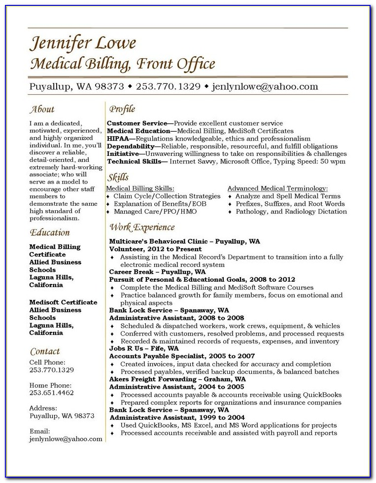 Medical Biller Resume Summary