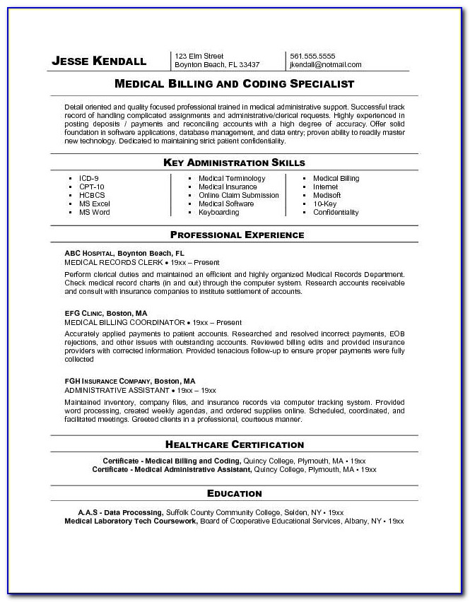 Medical Billing And Coding Resume Objective