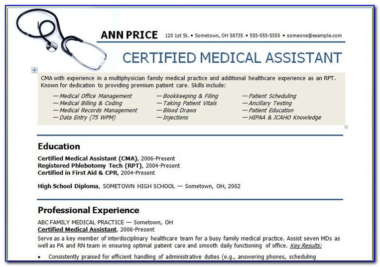 Medical Office Assistant Resume Template