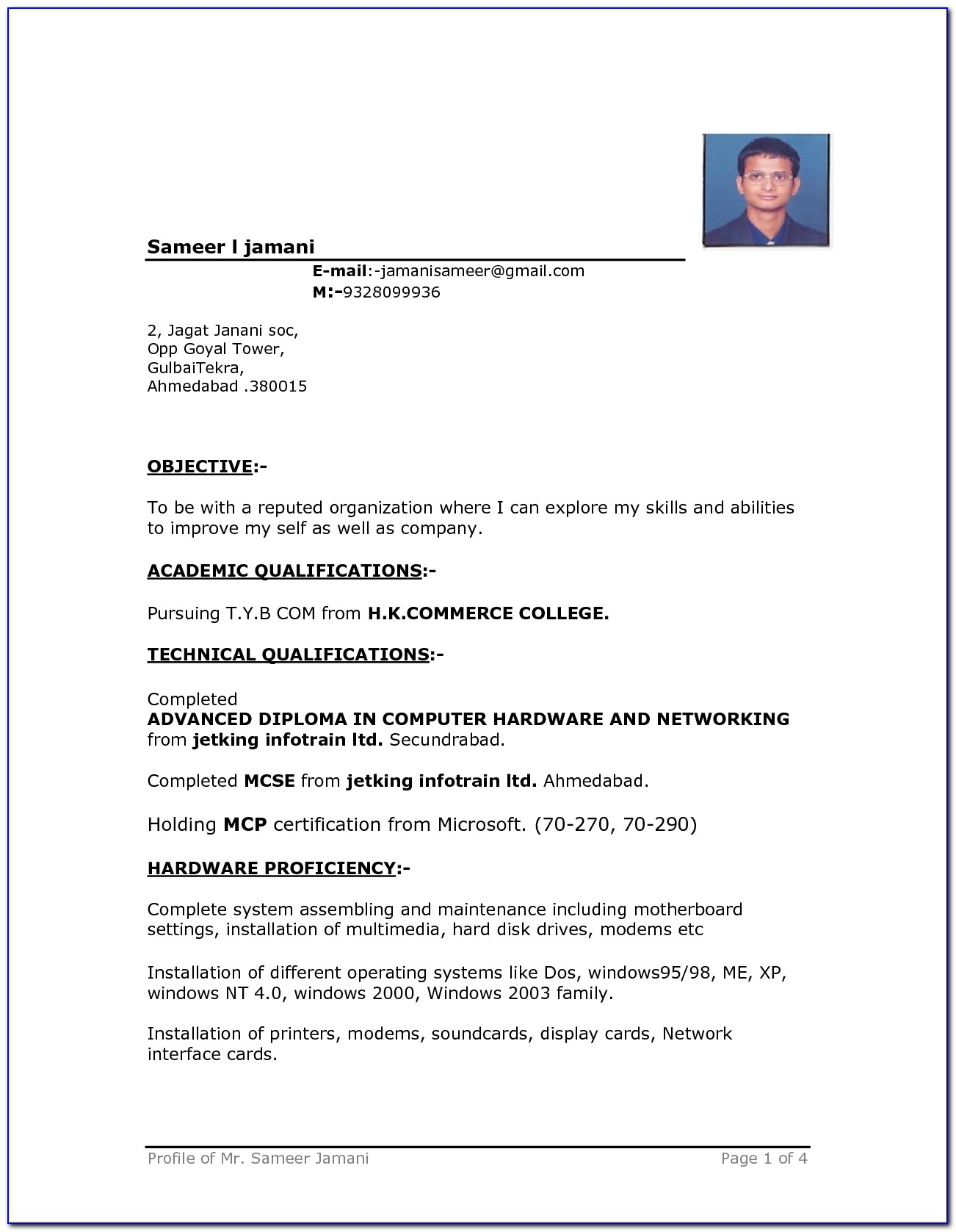 Doc.#612790: Resume Samples In Word Format – 7 Free Resume Inside Resume Template Microsoft Word 2017