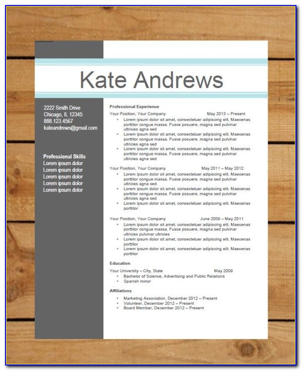 Modern Cv Template Word Free Download Doc Resume Resume
