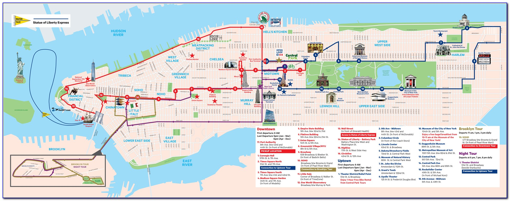 New York Pass Hop On Hop Off Bus Map