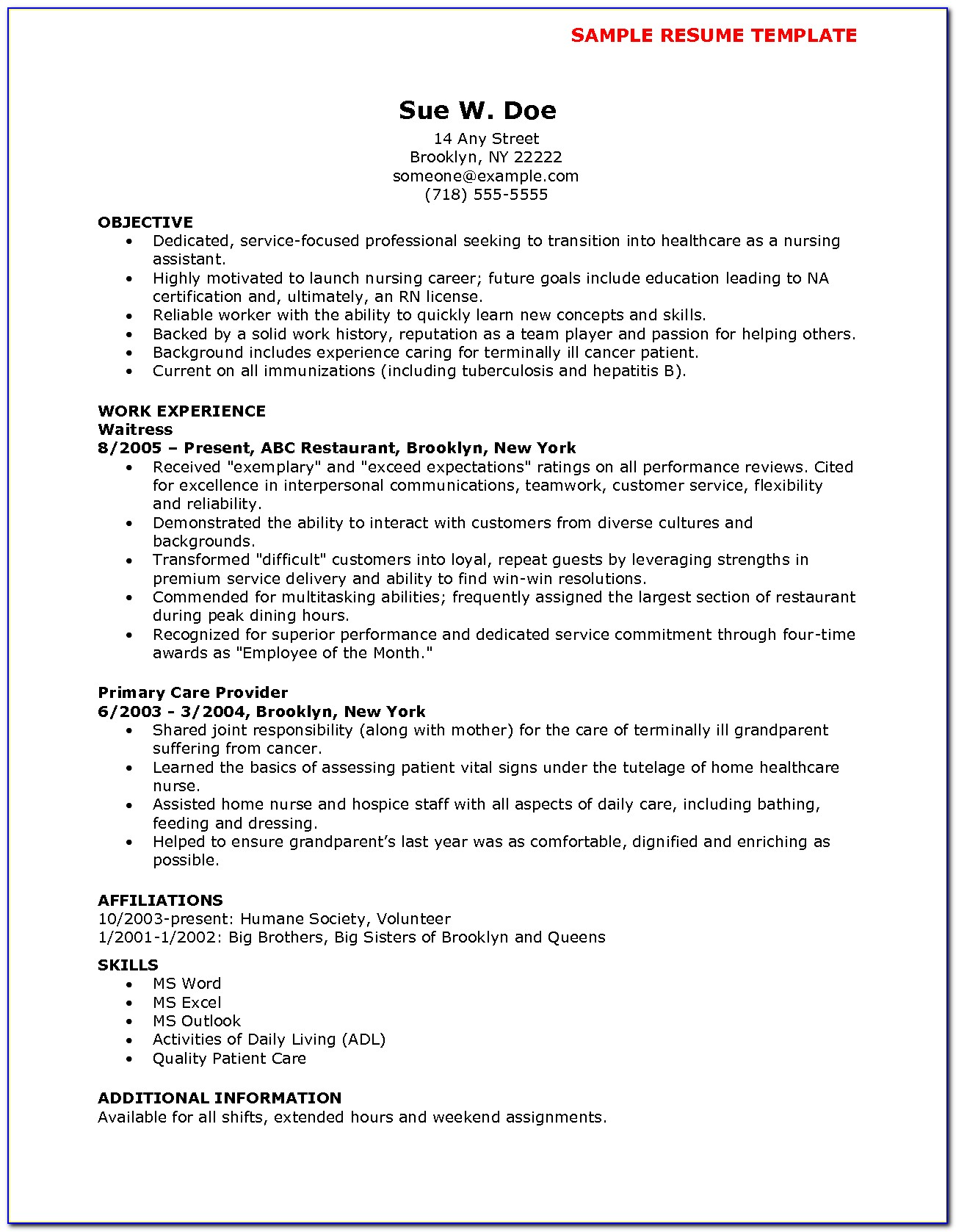 Nursing Cna Resume Template