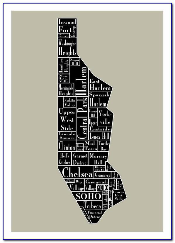 Nyc Neighborhood Map Poster