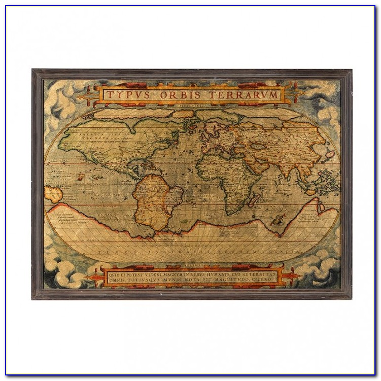 Old Style World Map Framed