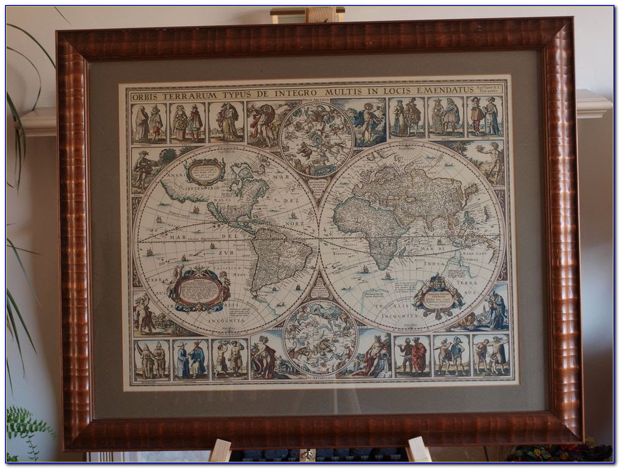 Old World Map Framed Pictures