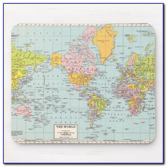 Old World Map Full Desk Mouse Pad