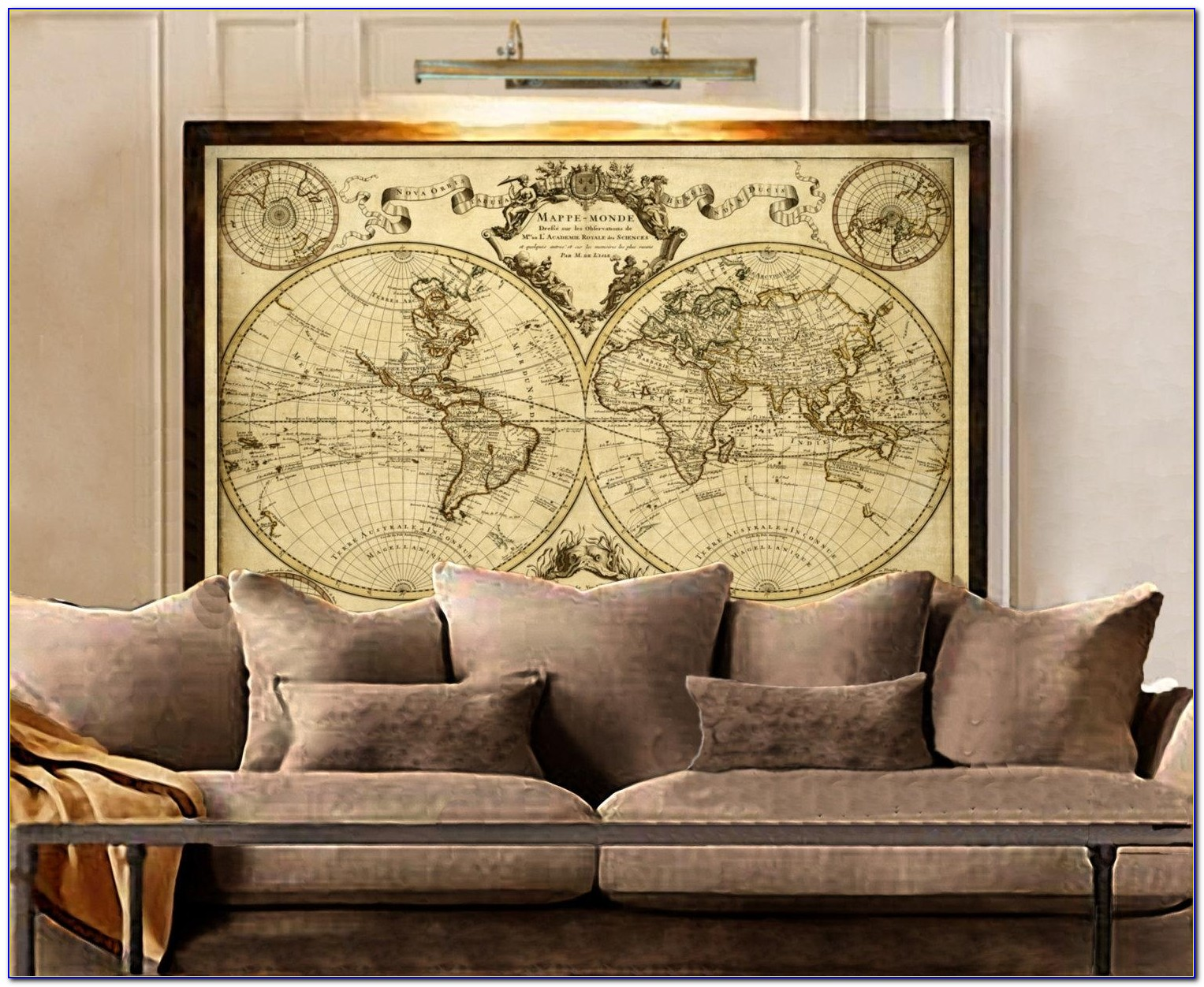 L'isle's 1720 Old World Map Historic Map Antique Style In Framed World Map Wall Art