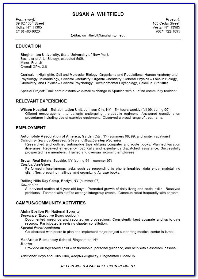 Resume Builder For Current College Students