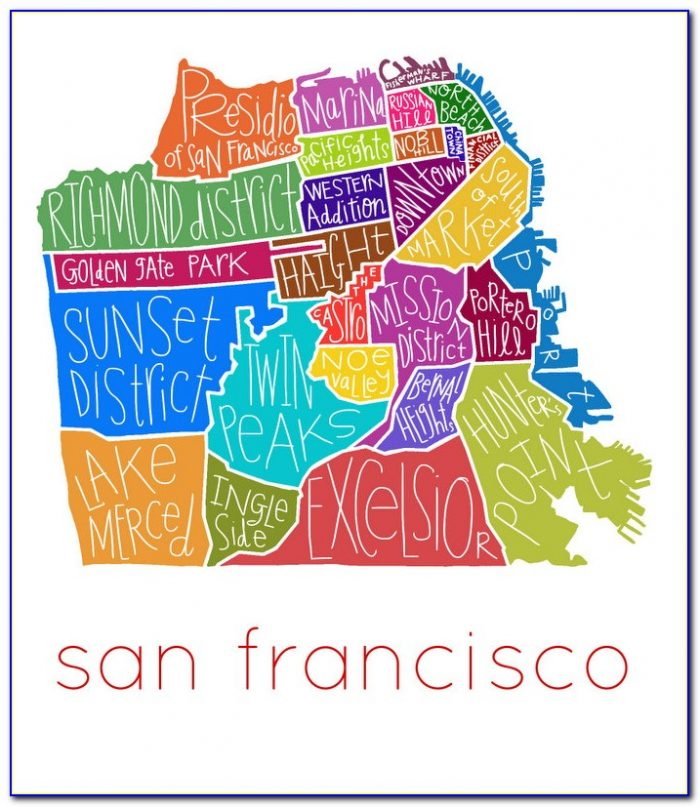 San Francisco Neighborhood Map Poster