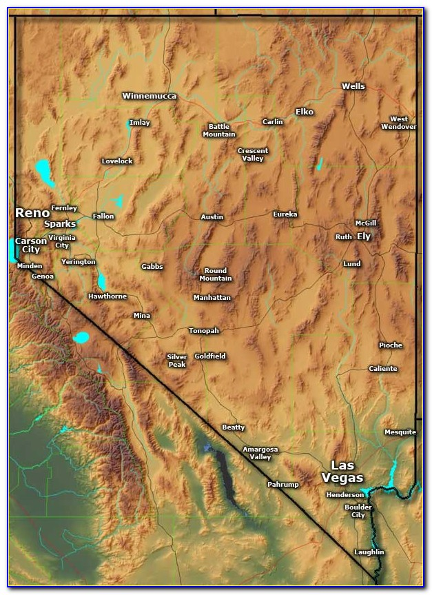 Sierra Nevada Relief Map