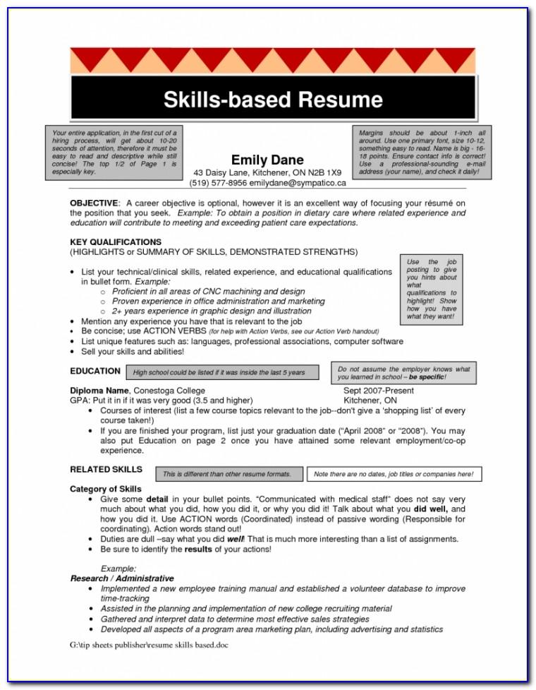 Skills Resume Template Free