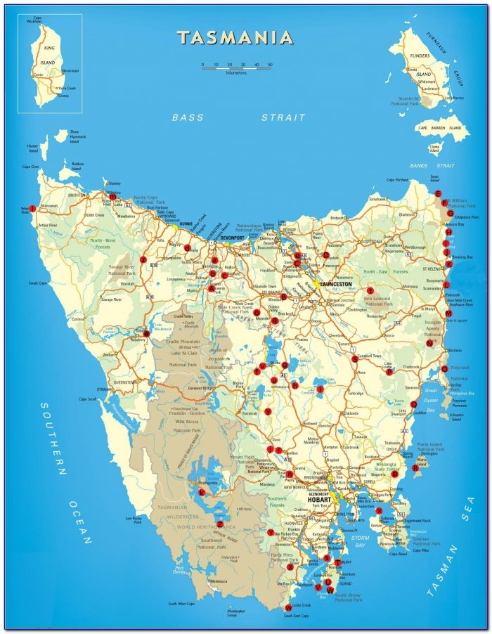 Tasmania Travel And Touring Map