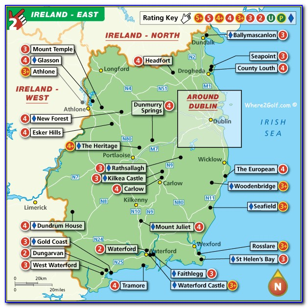 Top 100 Golf Courses In Ireland Map