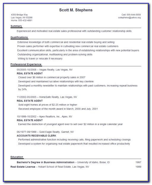 Typing A Resume Format