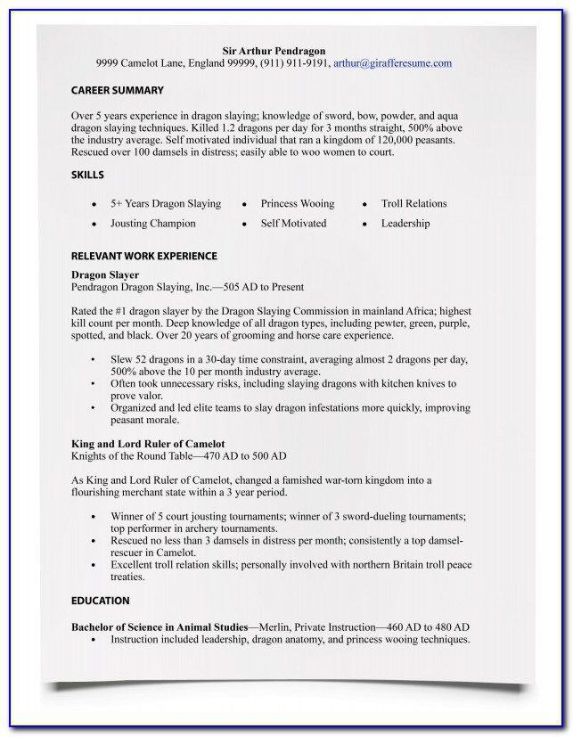 Typing A Resume In Word