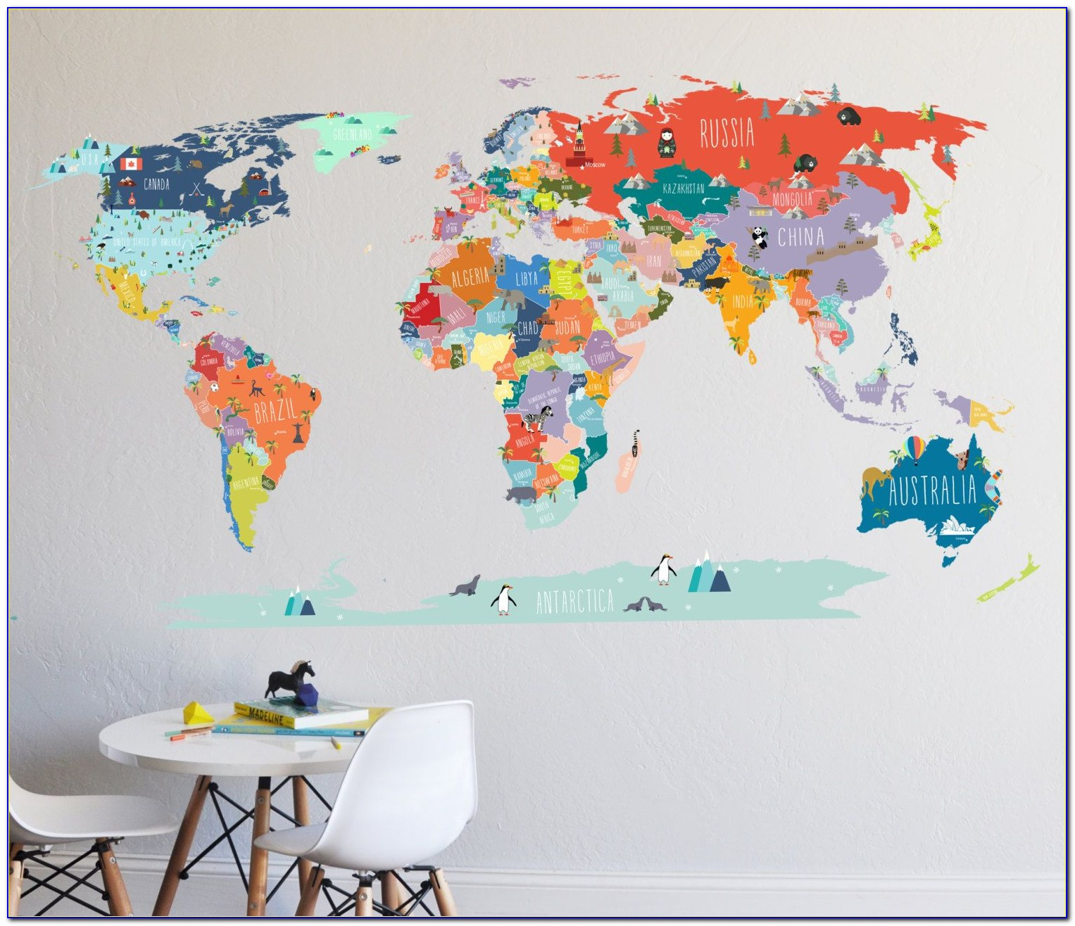 Wall Sticker Map Of The World