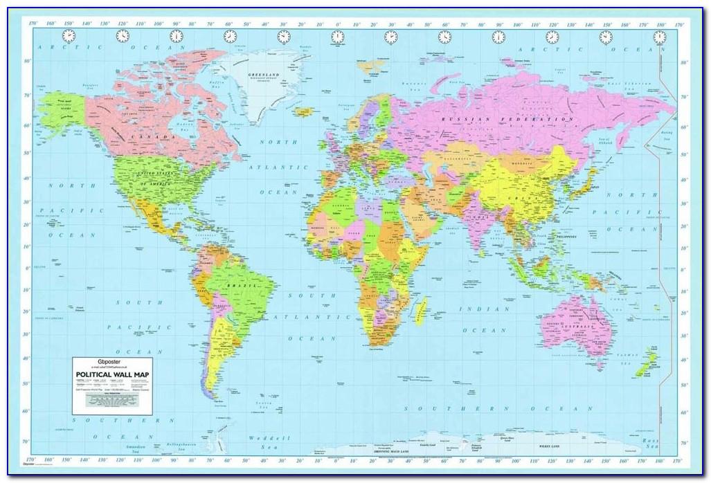 World Map Laminated Large