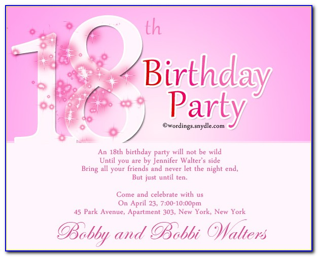 18th Birthday Invitation Templates Word
