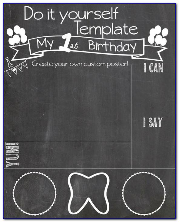 1st Birthday Chalkboard Template
