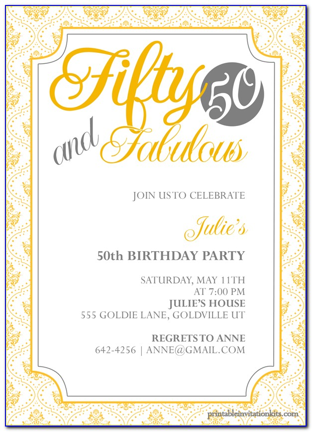 50th Birthday Invitation Templates Free Online