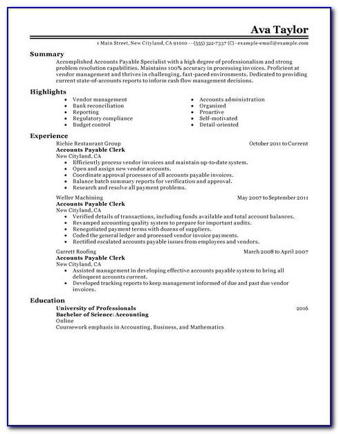Accounts Payable Resume Pdf
