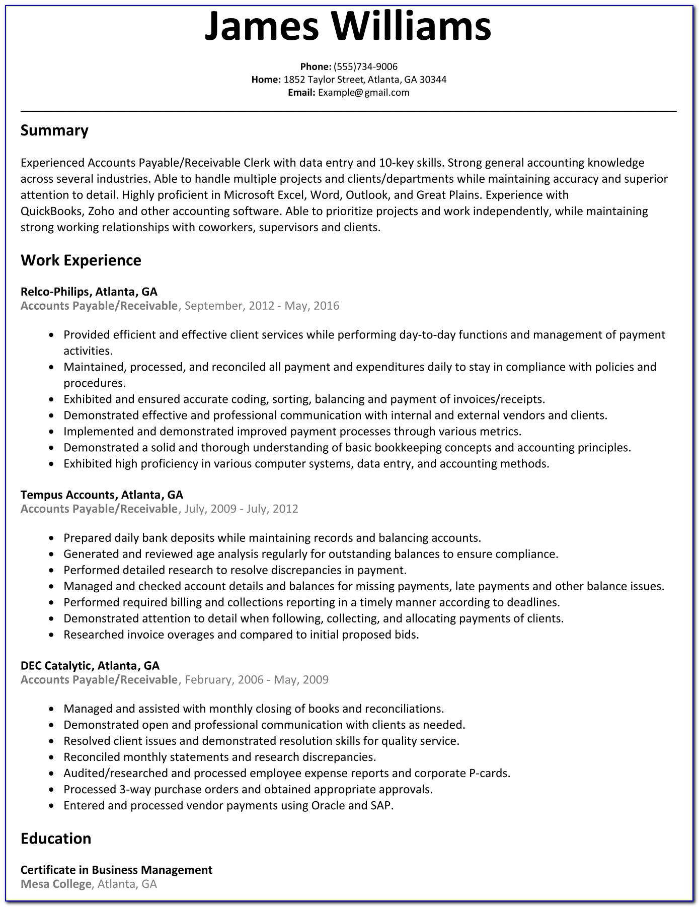 Accounts Payable Resume Skills