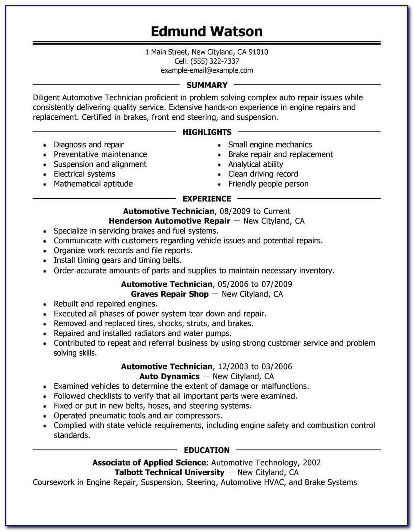 Automotive Technician Resume Template