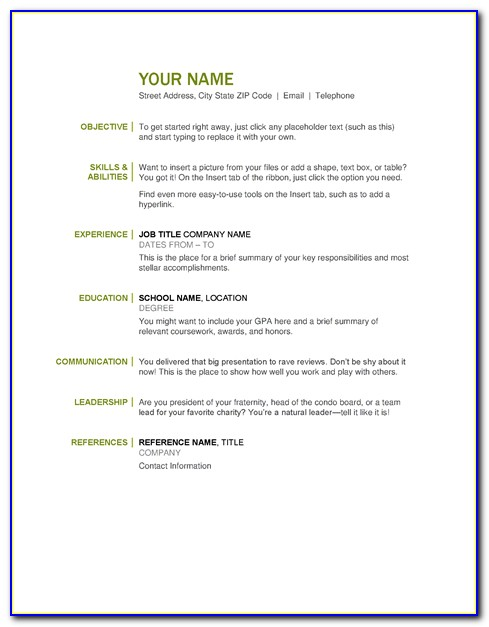 Best And Simple Resume Format