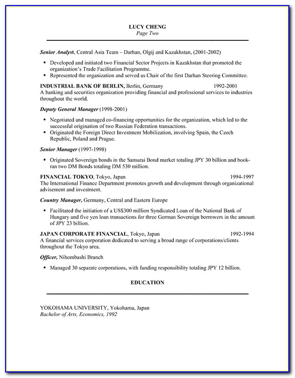 Best Resume Sample For Bankers