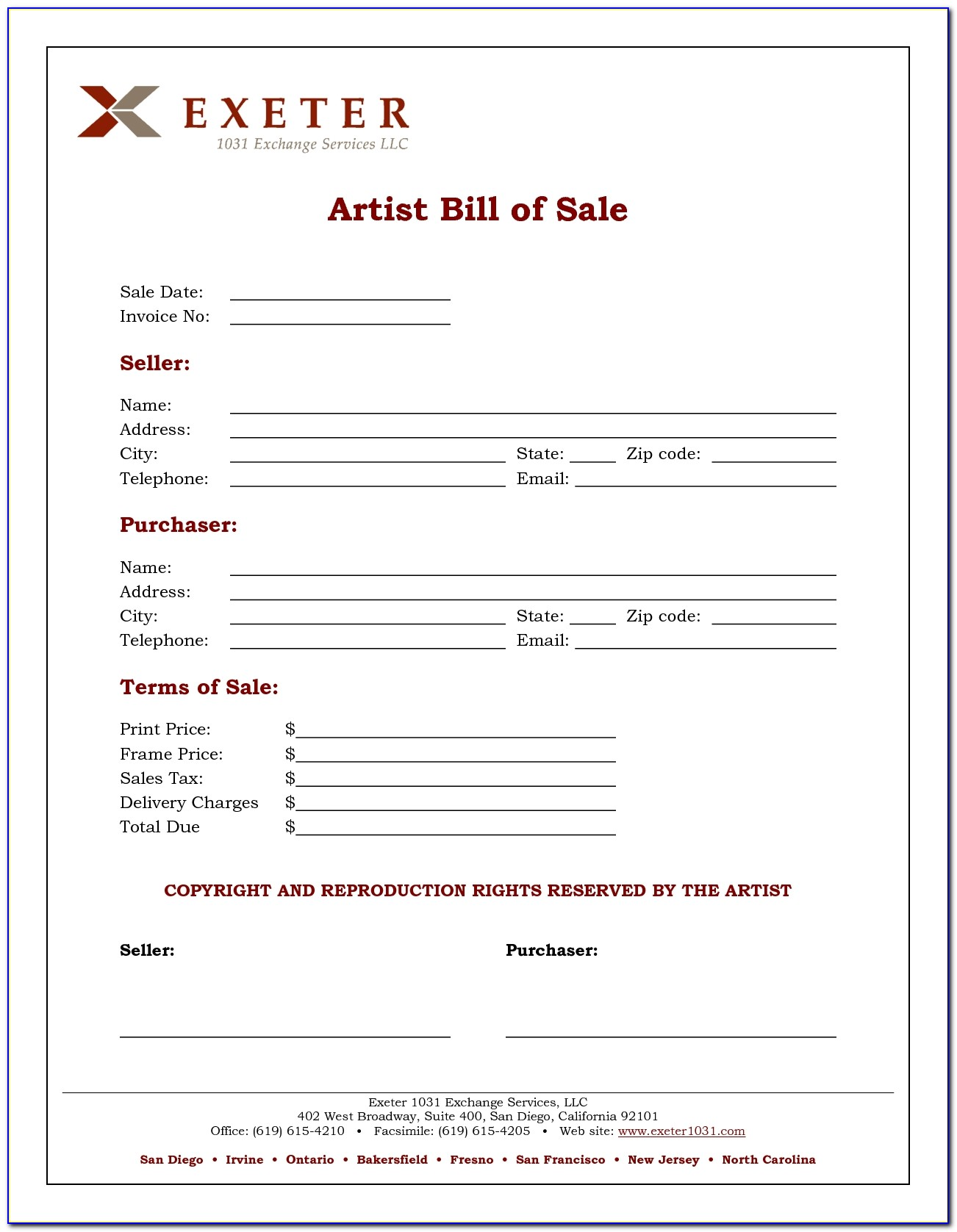 1031 Sales Bill Of Sale Invoice