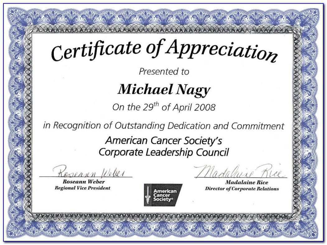 Free Editable Certificate Of Appreciation Templates