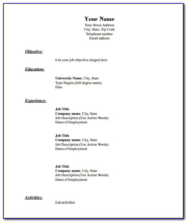 Blank Resume Form Pdf Download