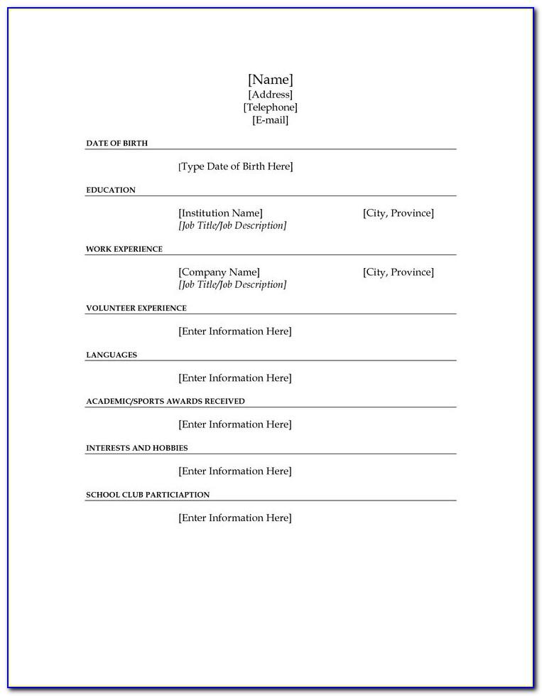 Blank Resume Samples