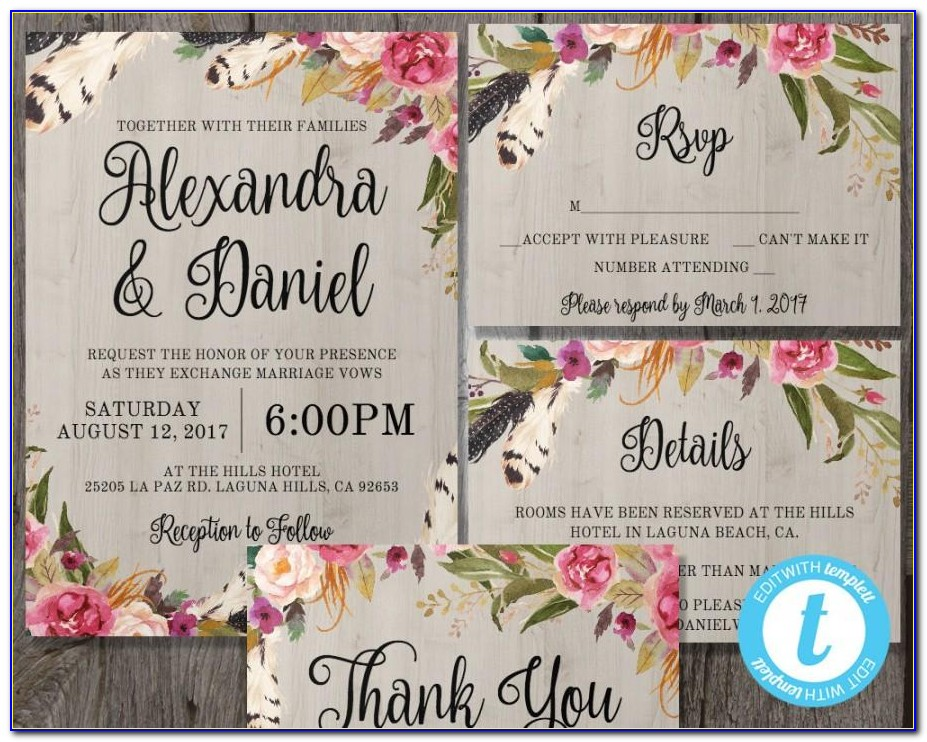 Bohemian Wedding Invitation Templates Free