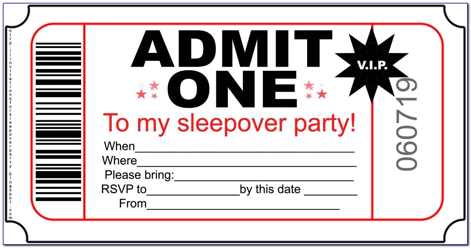 Boy Sleepover Invitation Template