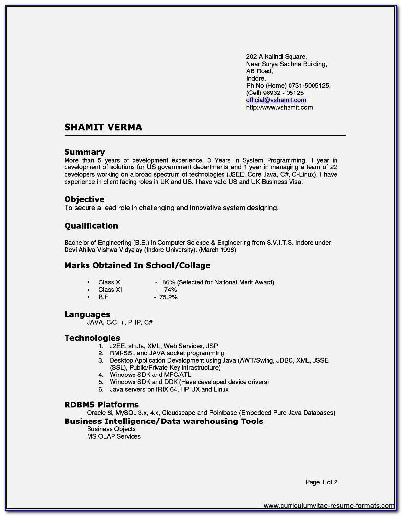 Resume Format For Freshers B.sc Nursing
