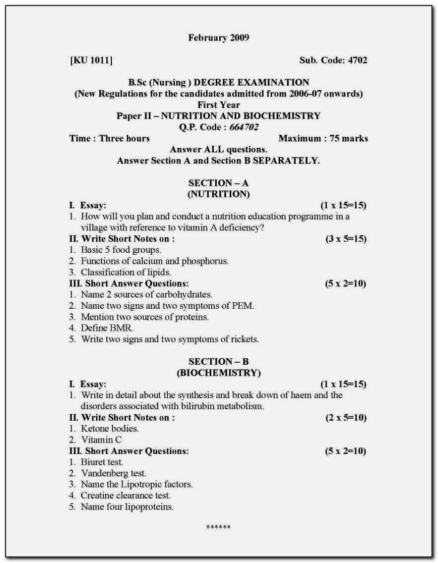 Resume Format For B.sc Nursing