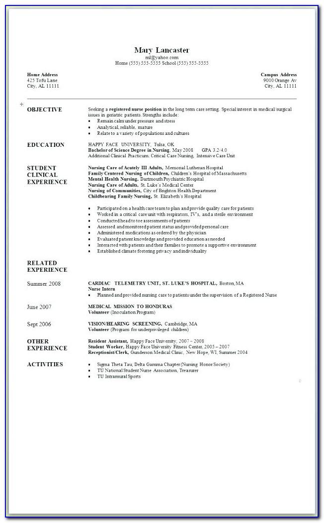 Bsc Nursing Resume Format Pdf Download