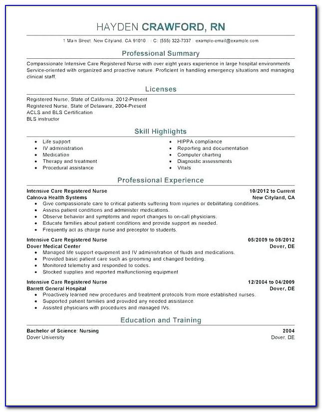 Bsc Nursing Resume Format Word
