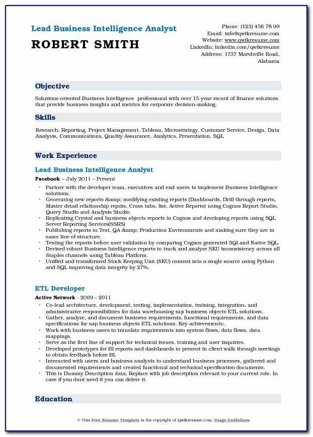 Business Intelligence Manager Sample Resume
