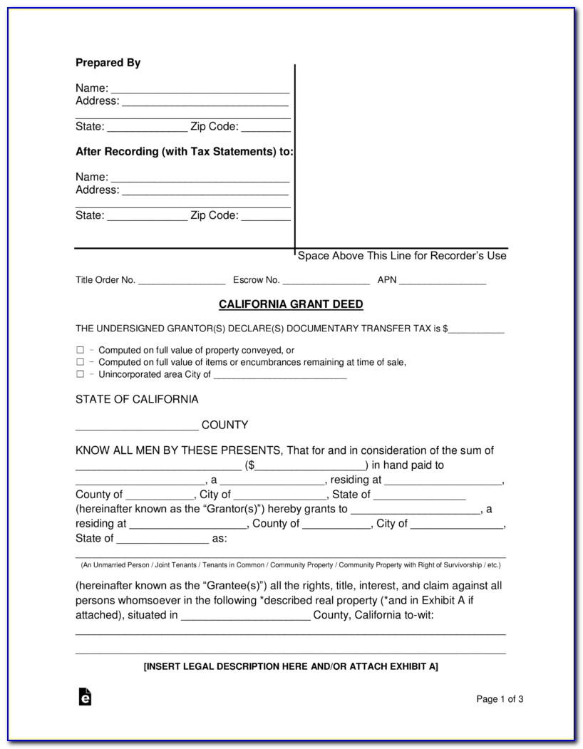 California Grant Deed Template