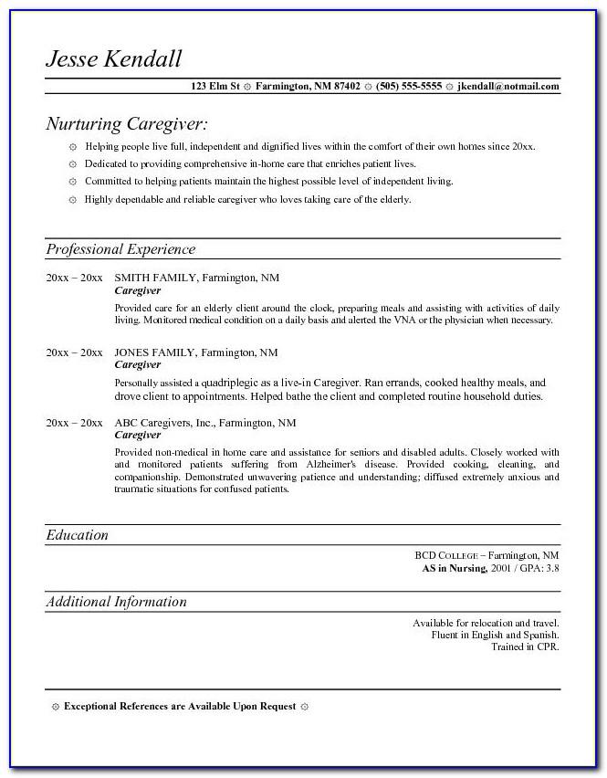 Caregiver Resume Samples Free