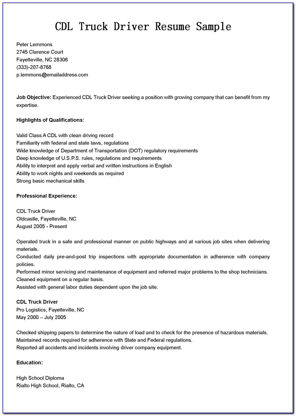 Cdl Truck Driver Job Description For Resume