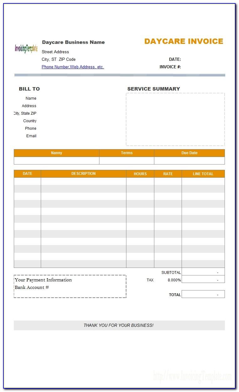 Daycare Invoice Invoic Daycare Invoice Basitting Invoice Child Care Invoice Template