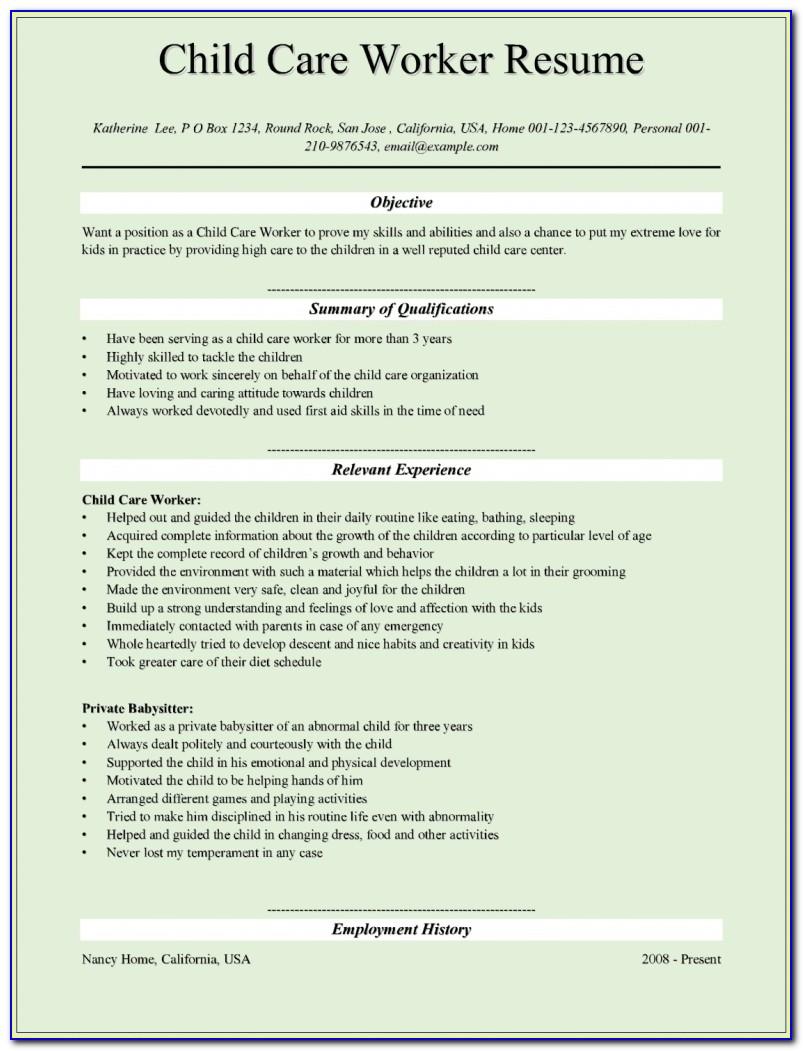 Child Care Provider Resume | Template Design In Child Care Provider Resume Template